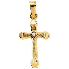 This lovely accented hollow cross diamond pendant is crafted in polished diamond-cut 14K yellow gold and measures 17.00x11.00mm. Polished to a brilliant shine. Chain sold separately!