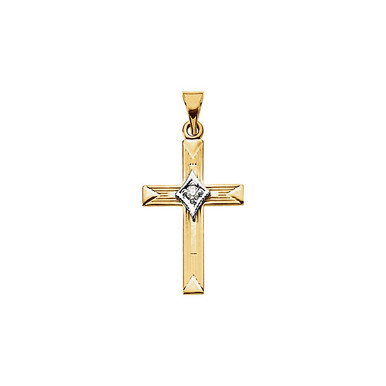 Diamond Cross Pendant In 14K Yellow Gold that measures 21.00x14.00mm and has a bright polish to shine.