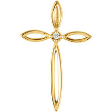 Designed to inspire, this petite cross pendant is crafted from 14k yellow gold with a 1.30mm round full cut diamond.