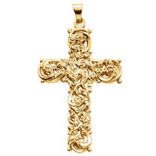 This cross pendant is in 14k yellow gold and has a bright polished finish. The cross is 39mm by 26.50mm and weighs 6.72 grams.