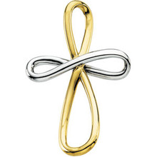 Cross pendant in 14K yellow/white gold has an elegant yet substantial design. Pendant measures 39.00x26.25mm and has a bright polish to shine.