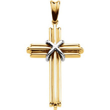 This 14K yellow/white gold cross pendant has an elegant yet substantial design. Pendant measures 36.75x24.50mm and has a bright polish to shine.