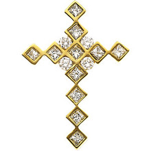 A glistening expression of faith, this diamond cross pendant will take her breath away. Expertly crafted in warm 14K yellow gold, this simple cross is completely outlined with a brilliant array of rich round and square diamonds. Designed to delight, this pendant captivates with .66 ct. t.w. of diamonds and a polished shine.