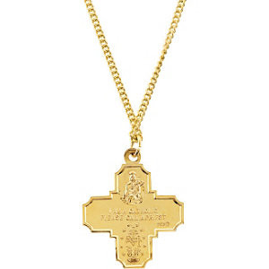 "This Four-Way Medal 24"" Necklace In 24K Gold Plated is a sweet way to show devotion. Pendant measures 34.51x28.96mm and has bright polish to shine."