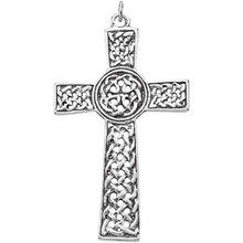 "This heavy, sterling silver Celtic cross pendant is made in the Holy Land and is fashioned with a detailed, knot design. Measures an approximate 1-7/8"" length and includes a 18"" sterling silver chain."
