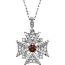 """A single genuine, AA grade mozambique garnet gemstone combines with sixteen, prong-set, full-cut diamonds set in high-polished to create this vintage-style, pattée cross dangle necklace. Measures approximately 15/16"""" in length (including decorative bail) and comes with an 18"""" chain."""