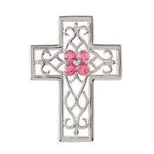 A dainty cross motif provides grace and movement to this elegant cross pendant. A traditional cross is rendered in lustrous sterling silver with pink tourmaline. A lovely look.
