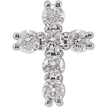 Diamond cross pendant in 14K white gold measures 10.20x7.80mm and radiant with 1/4 ct. tw. Polished to a brilliant shine.