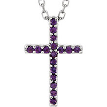 "Inspiring and eye-catching, this sparkling Genuine Amethyst pendant showcases beautiful 14k white gold and matching 16"" diamond cut cable chain necklace."