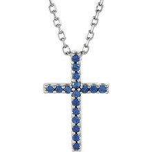 "Inspiring and eye-catching, this sparkling Blue Sapphire pendant showcases beautiful 14k white gold and matching 16"" diamond cut cable chain necklace."