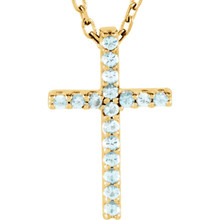 "Inspiring and eye-catching, this sparkling Genuine Aquamarine pendant showcases beautiful 14k yellow gold and matching 16"" diamond cut cable chain necklace."