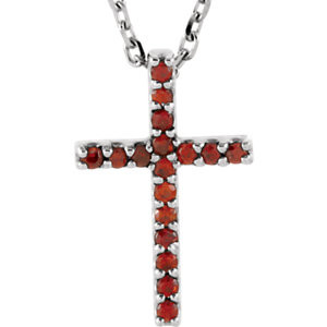 """Inspiring and eye-catching, this sparkling Genuine Garnet Mozambique pendant showcases beautiful 14k white gold and matching 16"""" diamond cut cable chain necklace."""