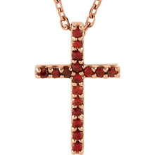 """Artistry and faith merge to create this striking 14k rose gold gemstone cross pendant made of Genuine Garnet Mozambique stones in a prong setting with a 16"""" diamond cut cable chain."""