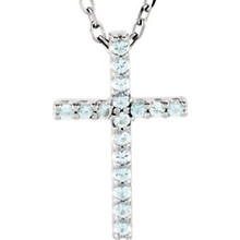 "Artistry and faith merge to create this striking 14kt white gold gemstone cross pendant made of Genuine Aquamarine stones in a prong setting with a 16"" diamond cut cable chain."