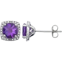 "Beautiful sterling silver Amethyst February birthstone diamond earrings with .015 ct tw. Say ""I love you"" to any woman in your life; a friend, mother, wife, girlfriend, daughter. All earrings are sold in pairs."