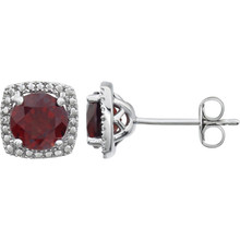 "Beautiful sterling silver Mozambique Garnet January birthstone diamond earrings with .015 ct tw. Say ""I love you"" to any woman in your life; a friend, mother, wife, girlfriend, daughter."