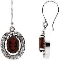 Mozambique Garnet & Diamond Earrings In 14k Yellow Gold measures 08.00x06.00mm in this perfectly essential pair of earrings.