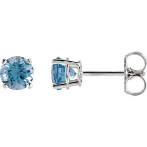 334c03513 Straightforward in design and unmatched in color, these round-cut, aquamarine  stud earrings