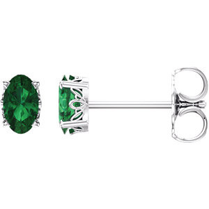 1aa849c0f Chatham® Created Emerald Earrings In 14K White Gold