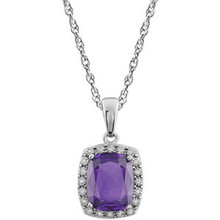 This stunning 14K white gold solitaire pendant necklace features a 10x8mm cushion amethyst that is complemented by brilliant-cut round diamonds. This February birthstone jewelry would look perfect with any outfit.
