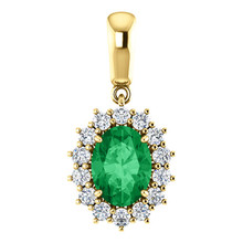 A stunning Chatham® Created emerald is surrounded by fourteen round diamonds in this classic pendant.