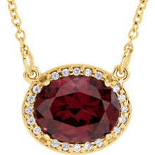 This 14k yellow gold pendant is perfect for everyday wear! The pendant features a oval 09.00x07.00mm garnet gemstone surrounded by 20 round cut diamonds. An 16 inch solid cable chain is included.