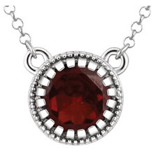 Deep, rich and luscious, our luxurious 5mm garnet pendant necklace gleams with personality and is totally designed to turn heads! 14kt white gold necklace.