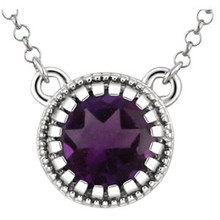 A statement on style and sophistication, this 5.00mm round amethyst pendant necklace will add panache to your little black dress or a flash of glamour to your favorite jeans and t-shirt. 14kt white gold pendant necklace. Amethyst birthstones are the perfect gift for February birthdays.