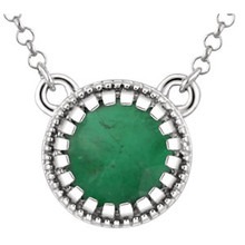 Deep, rich and luscious, our luxurious 5mm emerald necklace gleams with personality and is totally designed to turn heads! 14kt white gold necklace.