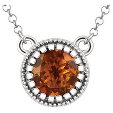 Sunny, warm and certain to bring a smile, this 5.00mm citrine pendant necklace gleams with personality. Don't be surprised at the attention - it's totally designed to turn heads! And it makes an ideal November birthstone signature piece. Suspends from a cable chain with a spring ring clasp. 14kt white gold necklace.