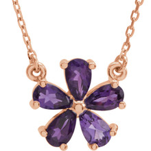 This 14k rose gold necklace features an 05.00x03.00mm pear shaped genuine amethyst gemstone and has a bright polish to shine. An 16 inch 14k rose gold diamond cut cable chain is included.