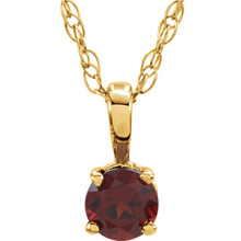 This gorgeous 14K yellow gold pendant features a imitation 3mm round garnet beautifully set in a prong setting.  Symbolize your love with this elegant January's birthstone pendant!