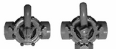 "CUSTOM MOLDED PRODUCTS | COMPLETE GRAY PVC VALVE,-WAY, 1-1/2"" SLIP, 2"" SPIGOT 