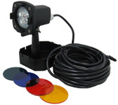 CALVERT | UNDERWATER FOUNTAIN LIGHT 12V, 20W HALOGEN 33' POWER CORD INCLUDES BLUE, GREEN RED, & AMBER LENS | L750