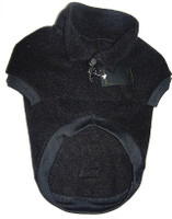 Black fleecy dog jumper with collar (2016) This is a thick, beautiful rich black jumper - photo is overexposed to show design.