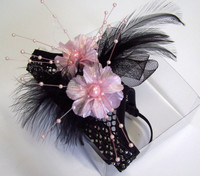 MB. Black mesh with Pink flowers and black feathers