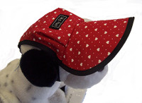 Cool cotton dog hats with red with white hearts and pinspots.