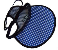 Dog Hat - blue/white check brim with black mesh crown.