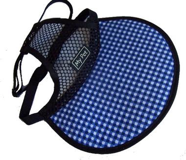 Dog Hat - blue/white check brim with black mesh crown.