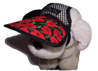 Dog Hat - RedPoppies - Cotton brim/poly mesh crown