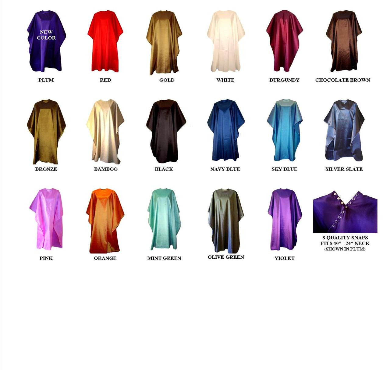 Iridescent Colored Water Repellent Shampoo/Cutting Capes-Assorted