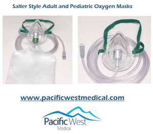 Salter Labs 1127 Pediatric high concentration elastic strap style mask with 7 ft. tube