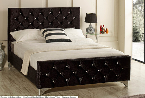 Florence Bed Frame Available In Crush Velvet Chenille