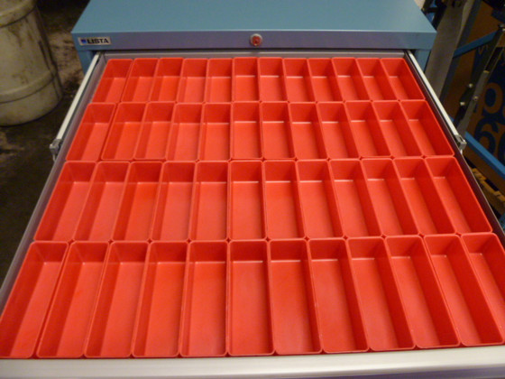 "Tool box drawer dividers in 2"" x 6"" x 2"" red plastic box"