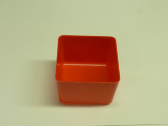 "4"" x 4"" x 3"" Red Plastic Box (Actual dimensions: W 3.875 x L 3.875 H 2.75)"