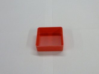 "3"" x 3"" x  1"" Red Plastic Box     (Actual dimensions: L 2.875"" x W 2.875"" x HT 1"")"
