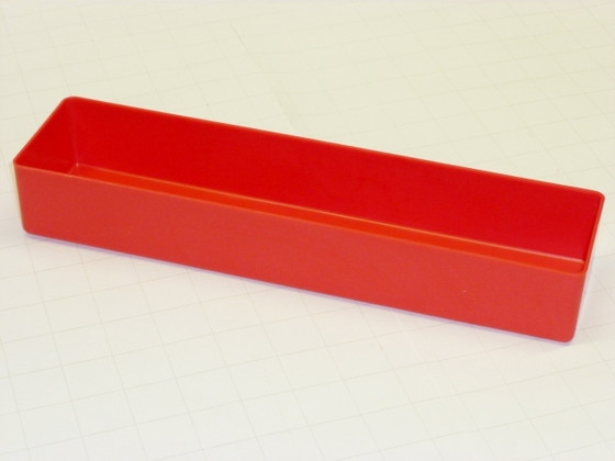 "3"" x 12"" x 3"" deep red plastic box"