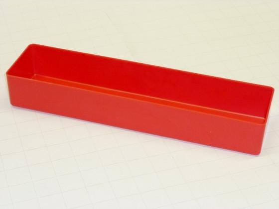 """3"""" x 12"""" x 3"""" deep red plastic box"""