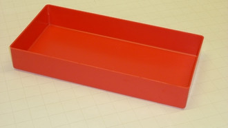 "6"" x 12"" x 3"" deep red plastic box"