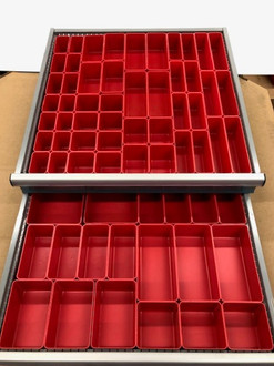 67-pba both drawers full of trays, bins, boxes, cups